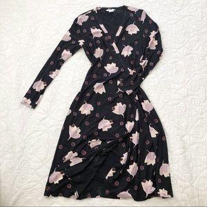 Boden Floral Polka Dot Printed Knit Wrap Dress 8L